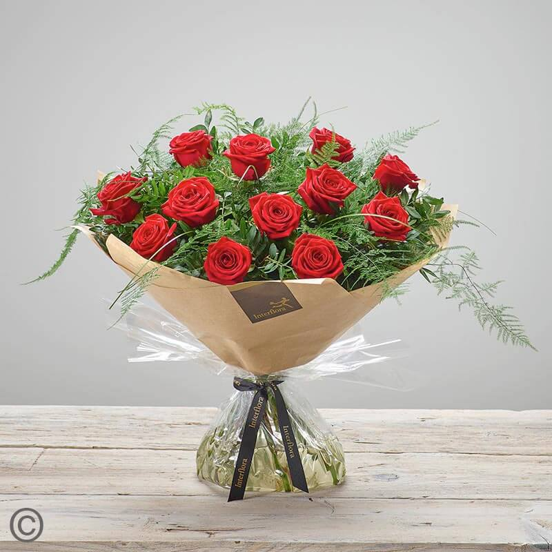 12 Rose Hand-tied (Red)