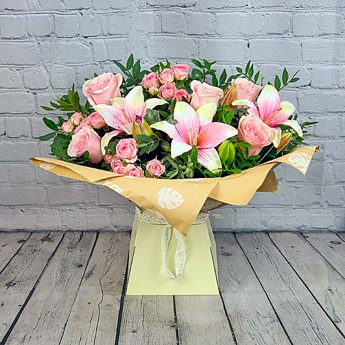 Pink Rose & Lily Hand-tied