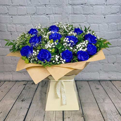 Blue Rose Hand-tied